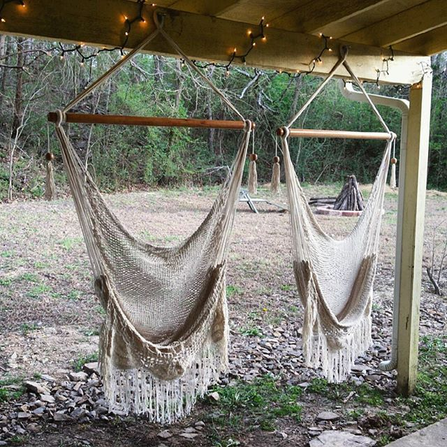 Gentil Hanging Chair Sitting Hammock Porch Swing With Macrame Fringe Off White  Organic Cotton Indoor/Outdoor Mission Hammocks Handmade Crochet