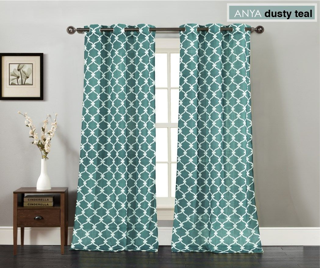 24 99 Dusty Teal Trendy Window Curtain Panels Set Of 2 This Daily Deal On Jane