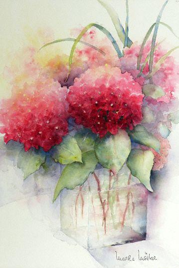 Hortensien Lech 64x43 Blumen Malen Aquarell Blumen