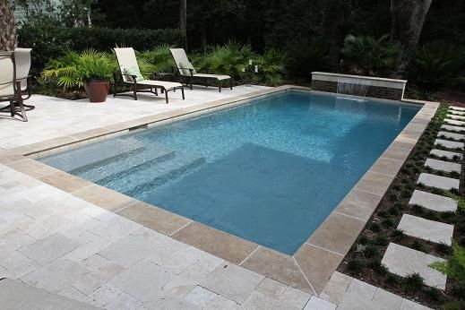 this beautiful rectangle swimming pool located in the crescent neighborhood of charleston sc is built by aqua blue pools this pool is a courtyard - Rectangle Pool