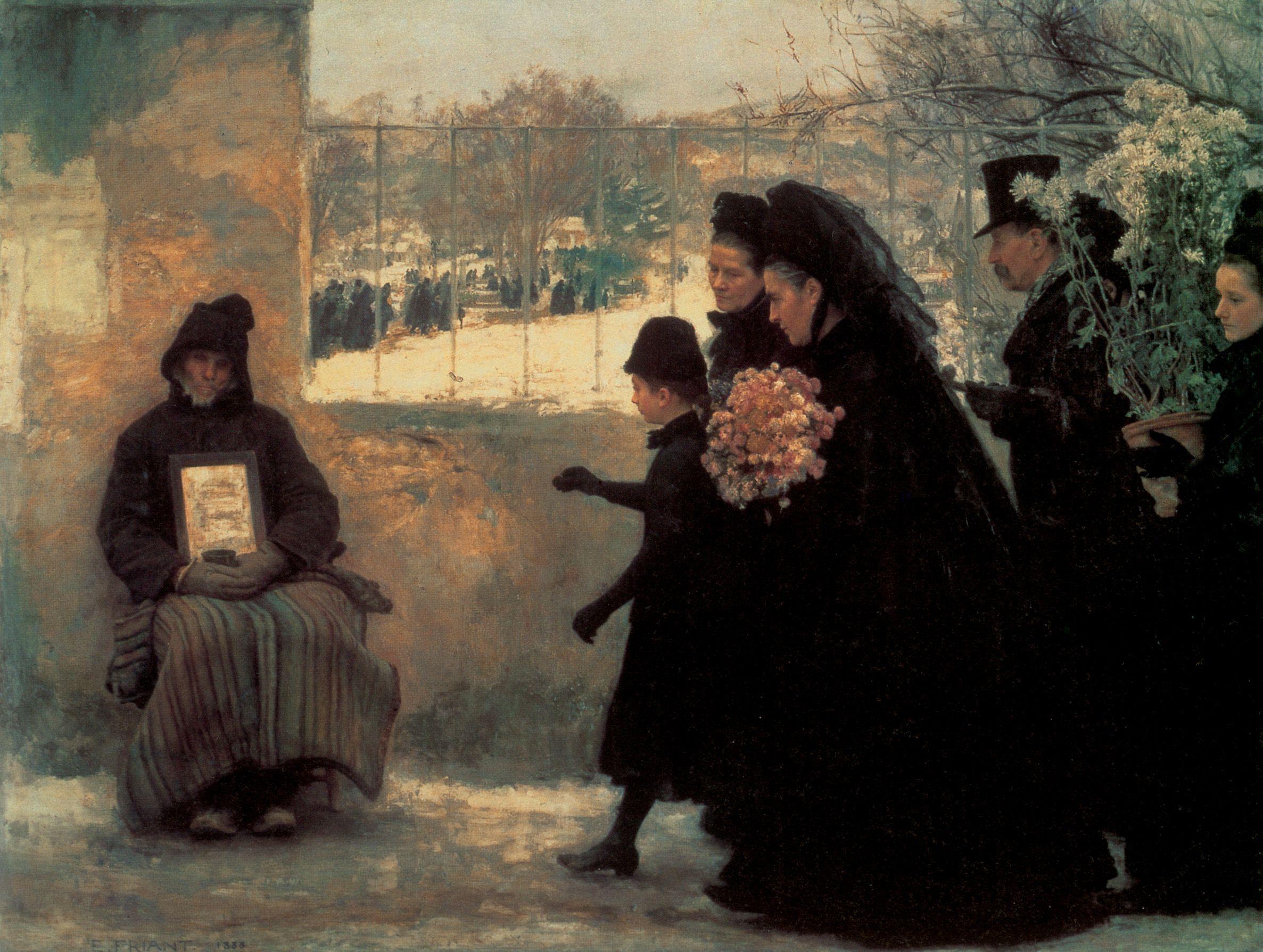 Emile Friant 1863 1932 La Toussaint Oil On Canvas 1888 325 12 X