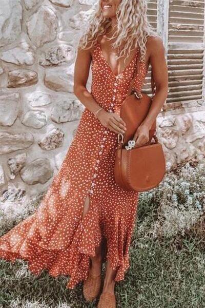 V-Necktie Sexy Bohemian Smallflower Vacation Dress
