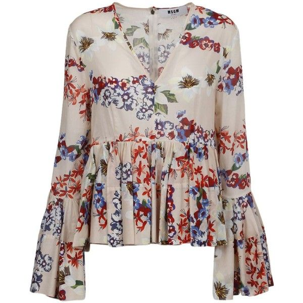 Msgm Floral Print Ruffled Blouse (€529) ❤ liked on Polyvore featuring tops, blouses, ruffle top, floral tops, flounce tops, frill top and flutter-sleeve top