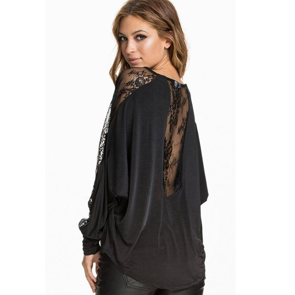 f7f1b6500fc Sexy Women Loose Plus Size Batwing Sheer Lace Long Sleeve Blouse ...