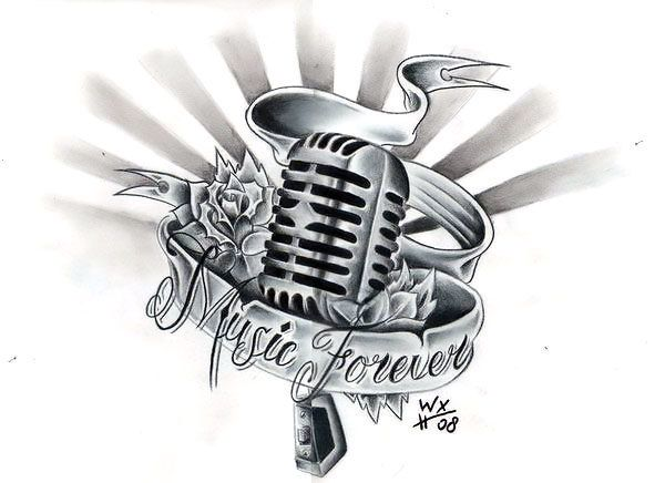 Old School Microphone Tattoo Design Microphone Tattoo Music Tattoo Designs Music Tattoos