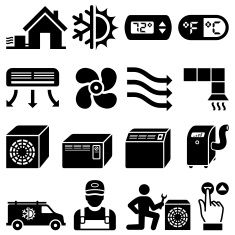 Air Conditioning Heating And Cooling Black White Icon Set Vector