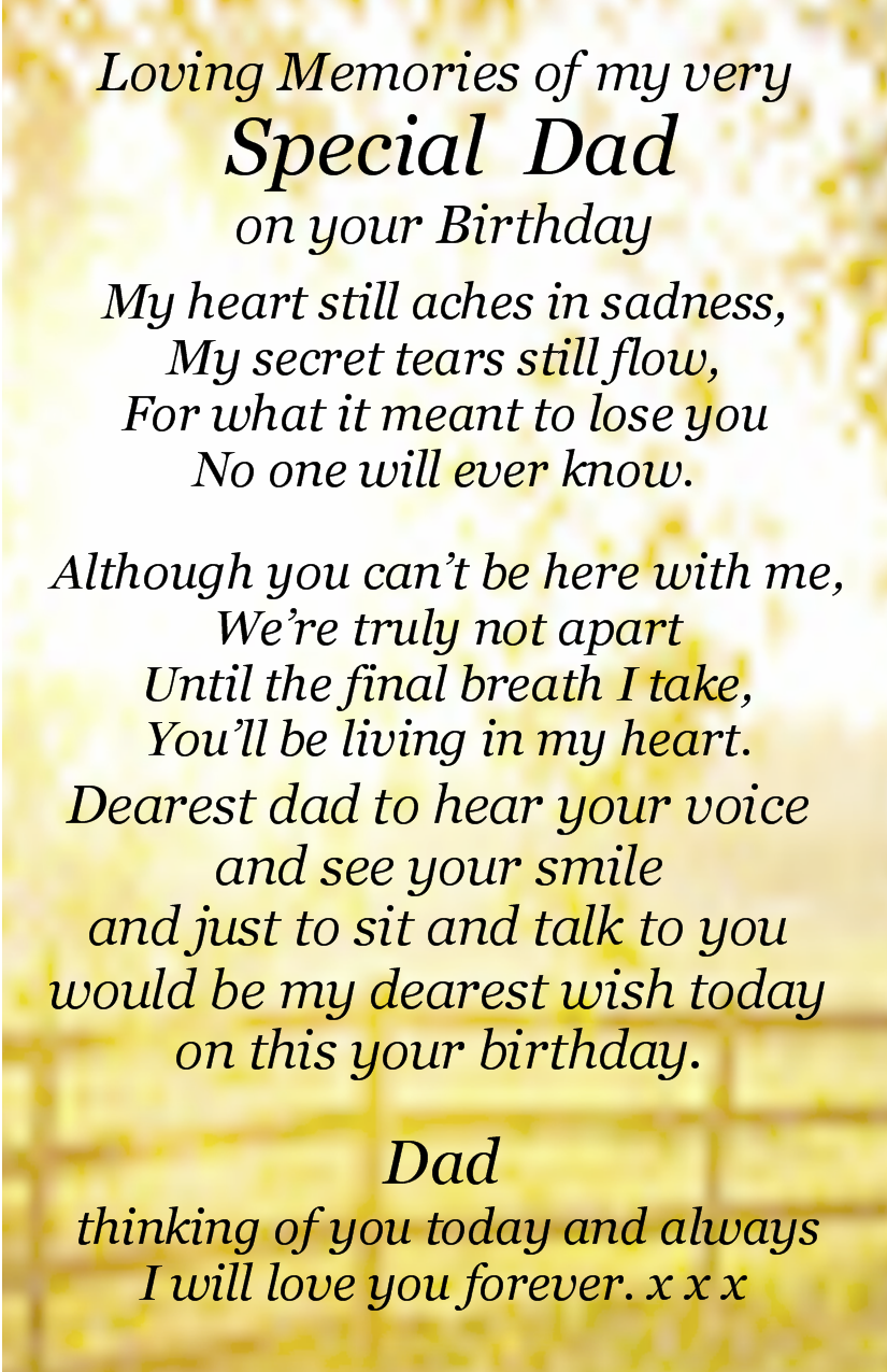 Happy birthday daddy in heaven poems from daughter