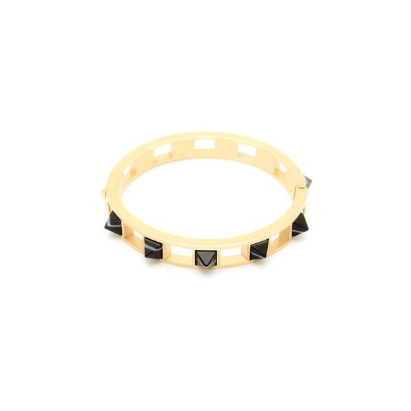 Pyramid Stone Bracelet in Black Agate ($240) ❤ liked on Polyvore featuring jewelry, bracelets, black agate jewelry, pyramid jewelry, stone jewelry, stone jewellery and stone bangles