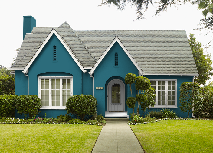 This Is The Project I Created On Behr Com I Used These Colors Blue Vortex T16 10 Ivory Keys T16 17 Farmer S Market Mq6 41 Mint Parfait P390 House Paint Exterior Exterior House Colors House Colors