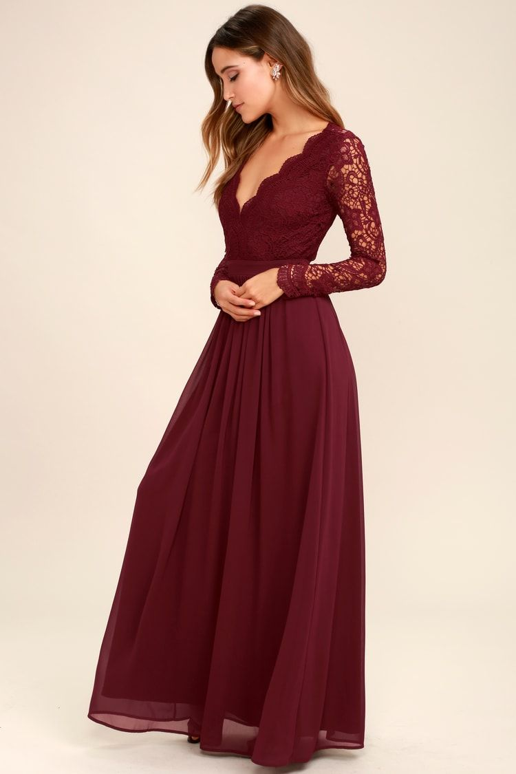 Awaken My Love Burgundy Long Sleeve Lace Maxi Dress In 2021 Prom Dresses Long With Sleeves Long Sleeve Bridesmaid Dress Blue Bridesmaid Dresses [ 1125 x 750 Pixel ]