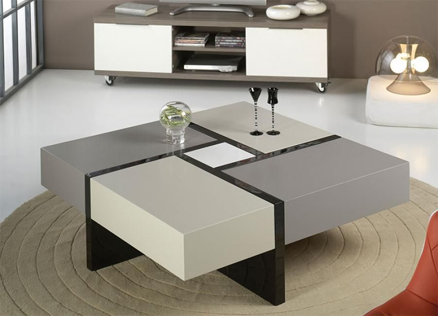 Furniture, Modern Square Coffe Table On Beige Round Rug In ...
