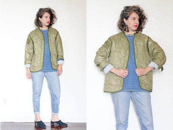 Vintage Liner Jacket | Lightweight Green Quilted Liner Jacket with ...