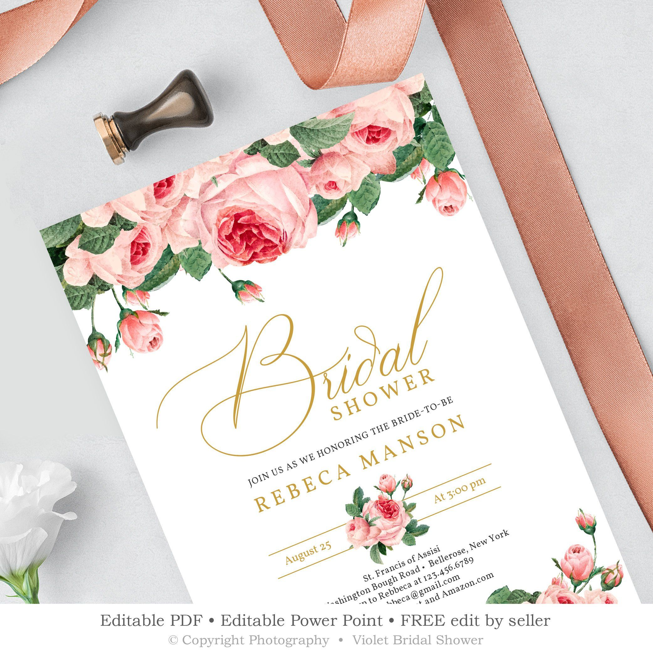 Pink Roses Bridal Shower Invitation Printable Editable
