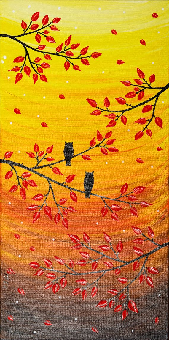 Owl painting red yellow orange colorful painting original art wall ...