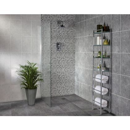 sorrento wall tile light or dark grey 250 x 400mm 10 pack matching square - Bathroom Tiles Homebase