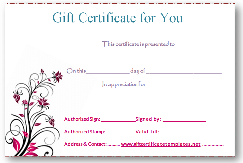 PinkFlowerGiftCertificateTemplate  Beautiful Printable Gift