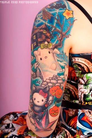 Tatuajes Halloween de Hello Kitty | Halloween tattoo of Hello Kitty
