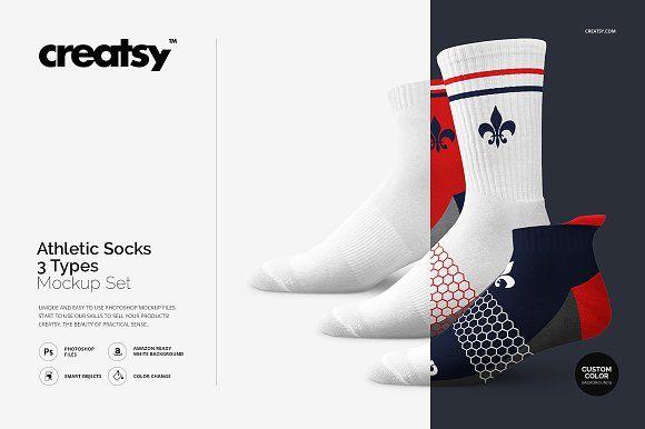Athletic Socks 3 Types Mockup Set Athletic Socks Mockup Design Socks