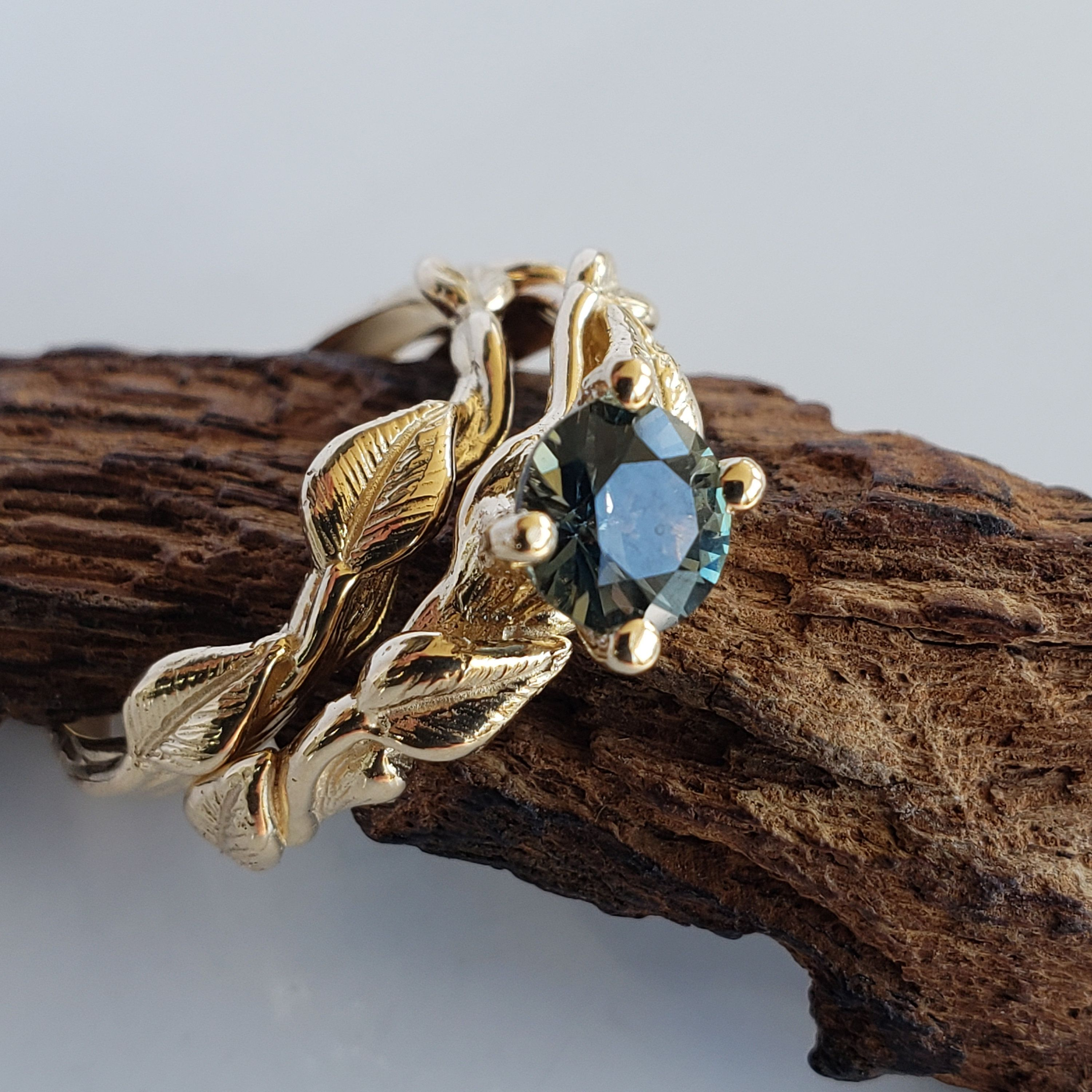 Teal Sapphire Engagement Ring, Leaf Twig and Vine