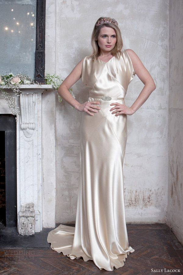 73856766082 sally lacock 2015 bridal madeleine wedding dress vintage hollywood style  silk antique gold front view
