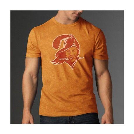 Tampa Bay Buccaneers Orange 47 Brand Throwback Logo Vintage Scrum T-Shirt  ... 7941db1c8