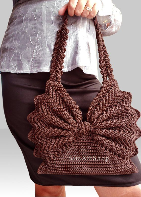 Crochet handbag,Crochet tote,Vintage style purse,Retro handbag,Unique bag,Butterfly bag,Brown bag #crochethandbags