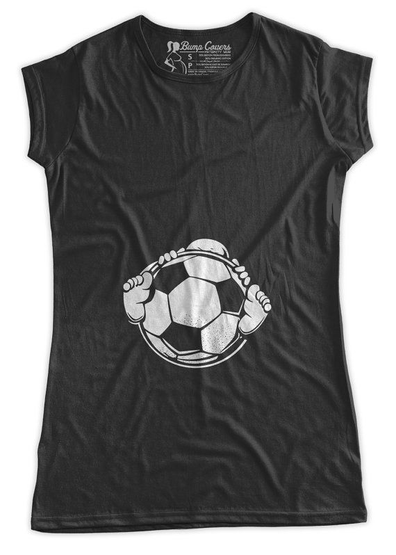 306e30cc19e02 Baby Holding a Soccer Ball Maternity T-Shirt by BumpCovers on Etsy ...