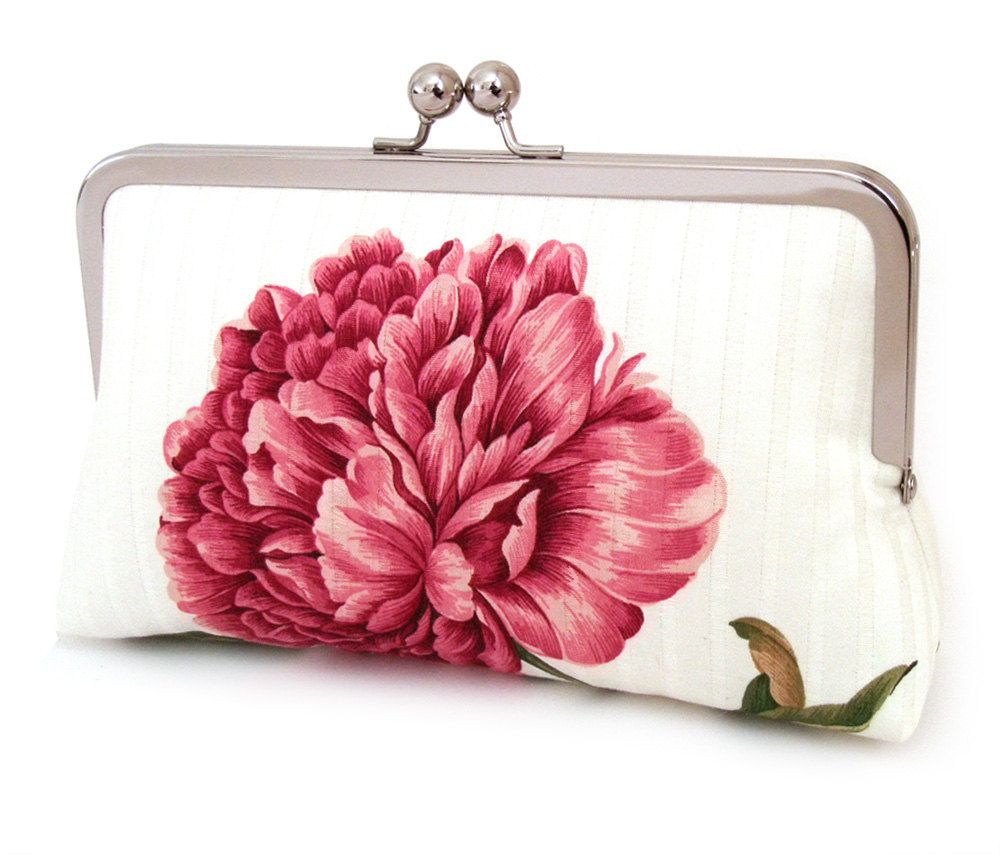 Pink peony clutch bag : Silk-lined purse, wedding accessory, bridesmaid gift, bridal clutch, gift box. via Etsy.