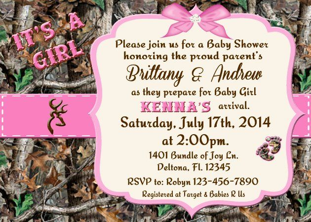 Pink Camo Baby Shower Invitations Camo Baby Shower Invitations