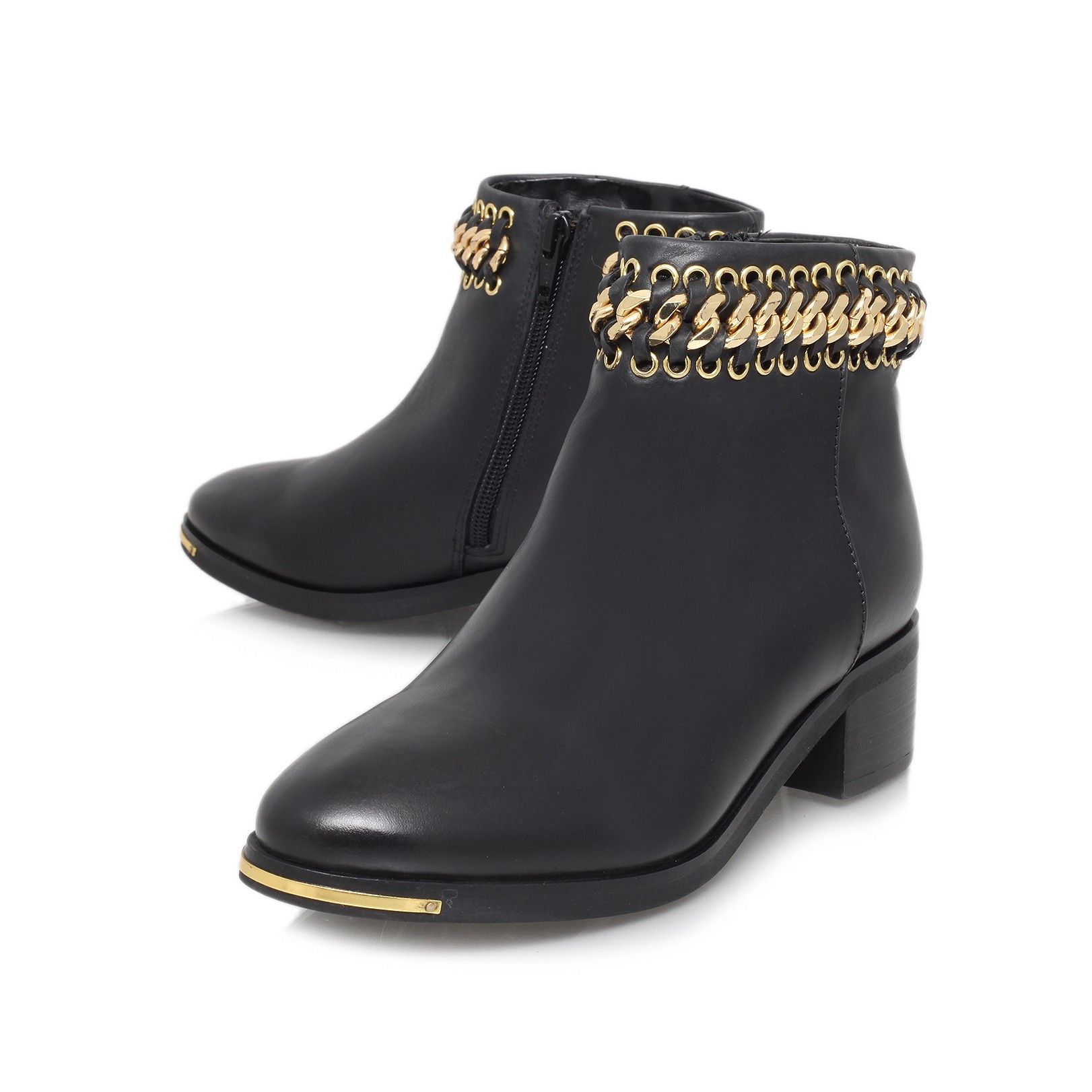 Womens Bead Chain-Strap Zipper Imitated Suede Boots