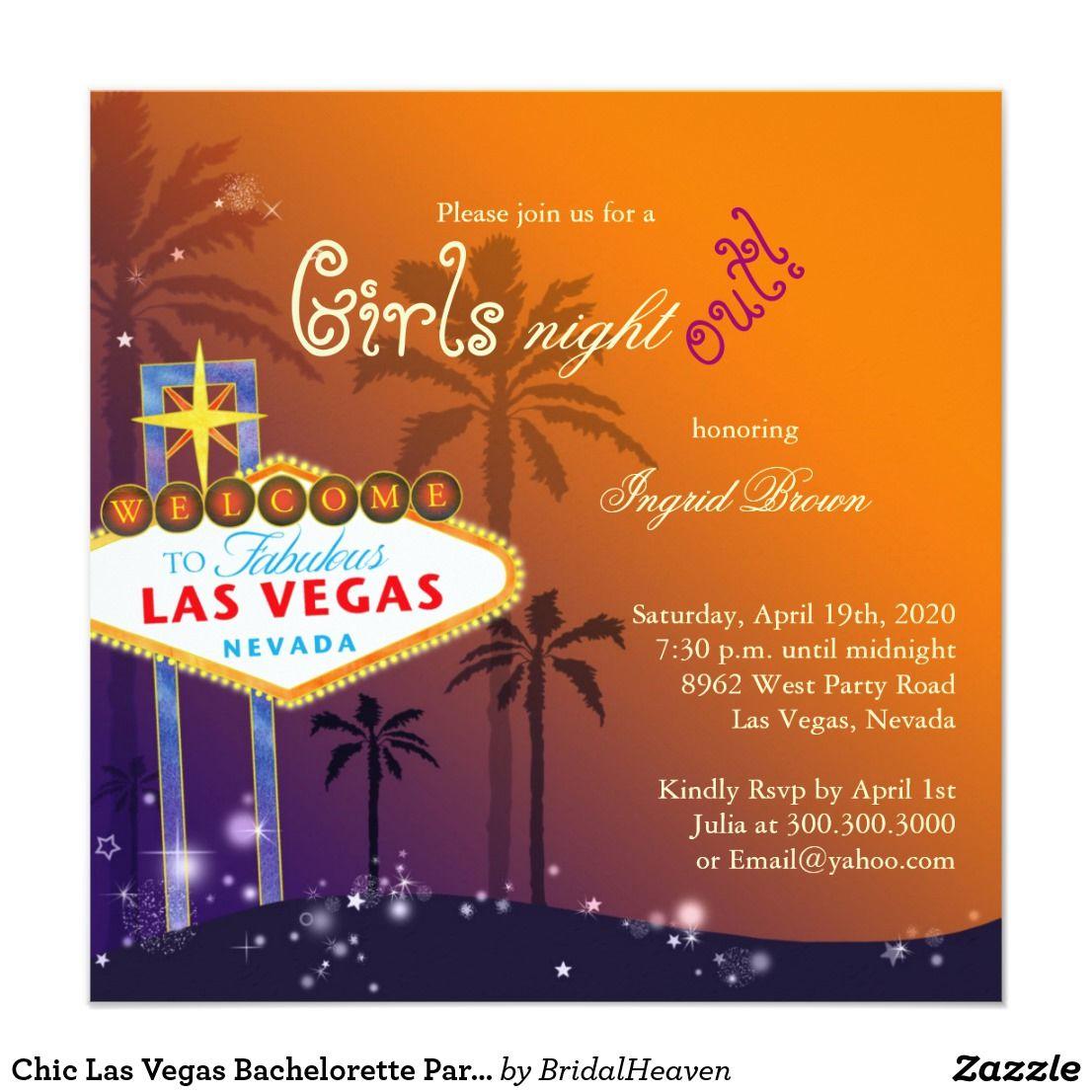 Chic Las Vegas Bachelorette Party Invitation | Fabulous Las Vegas ...