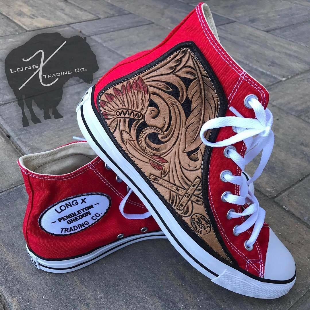 f0a2bb9d8617b Custom Converse headress + tooling | Leather in 2019 | Converse ...