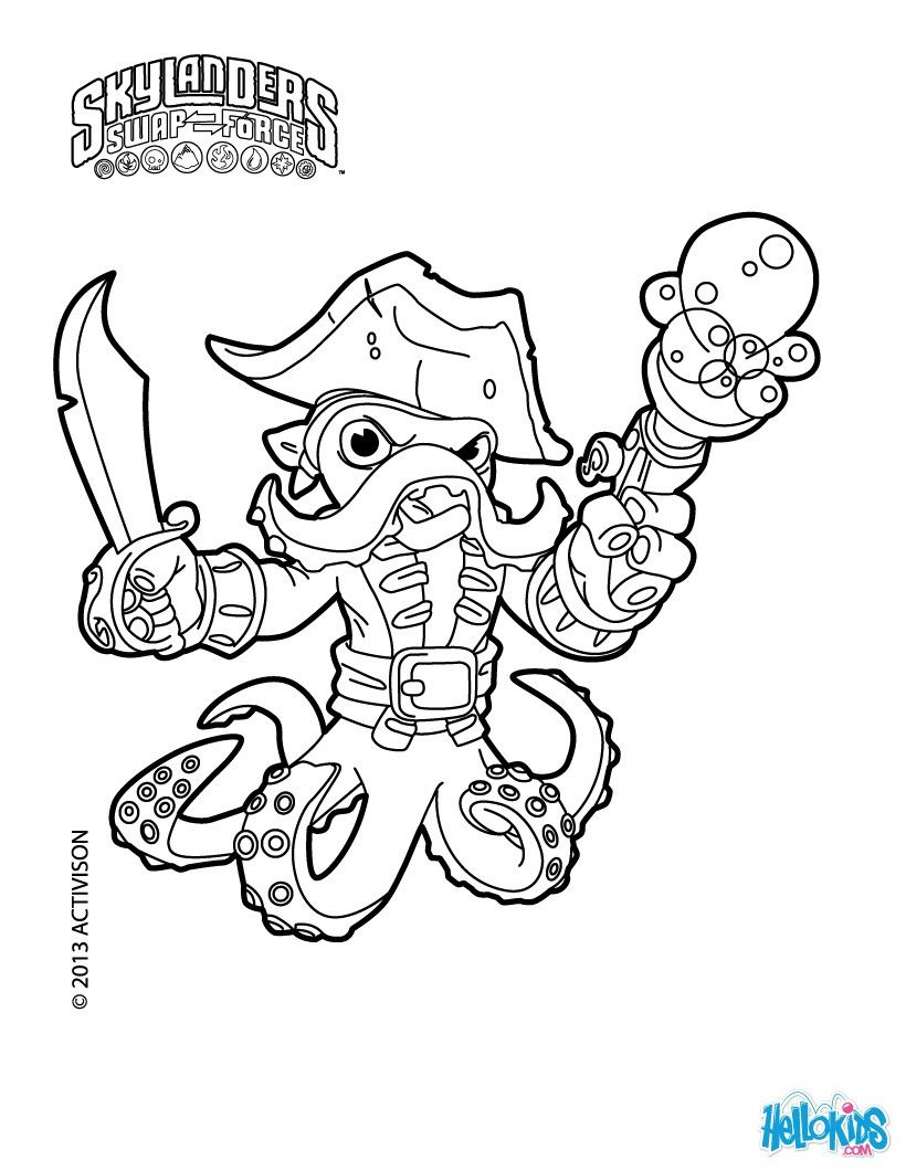 Wash Buckler Coloring Page Get Them For Free In Skylanders Swap Force On Hellokids Com Coloring Pages Grayscale Coloring Books Online Coloring For Kids