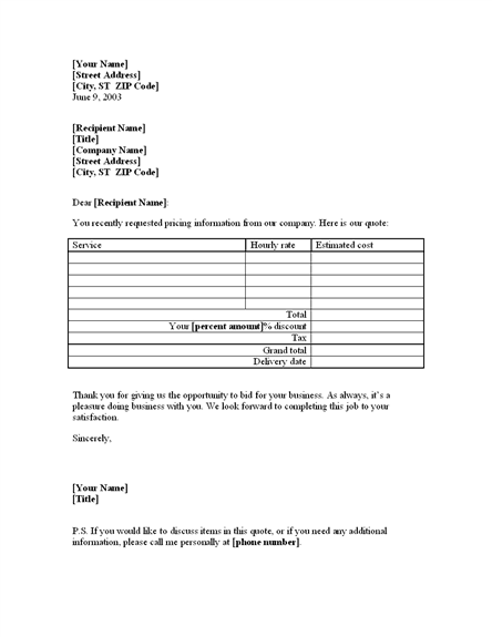 food quotation template hourly price quote template