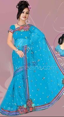 Vivacious Deep Blue Embroidered Saree