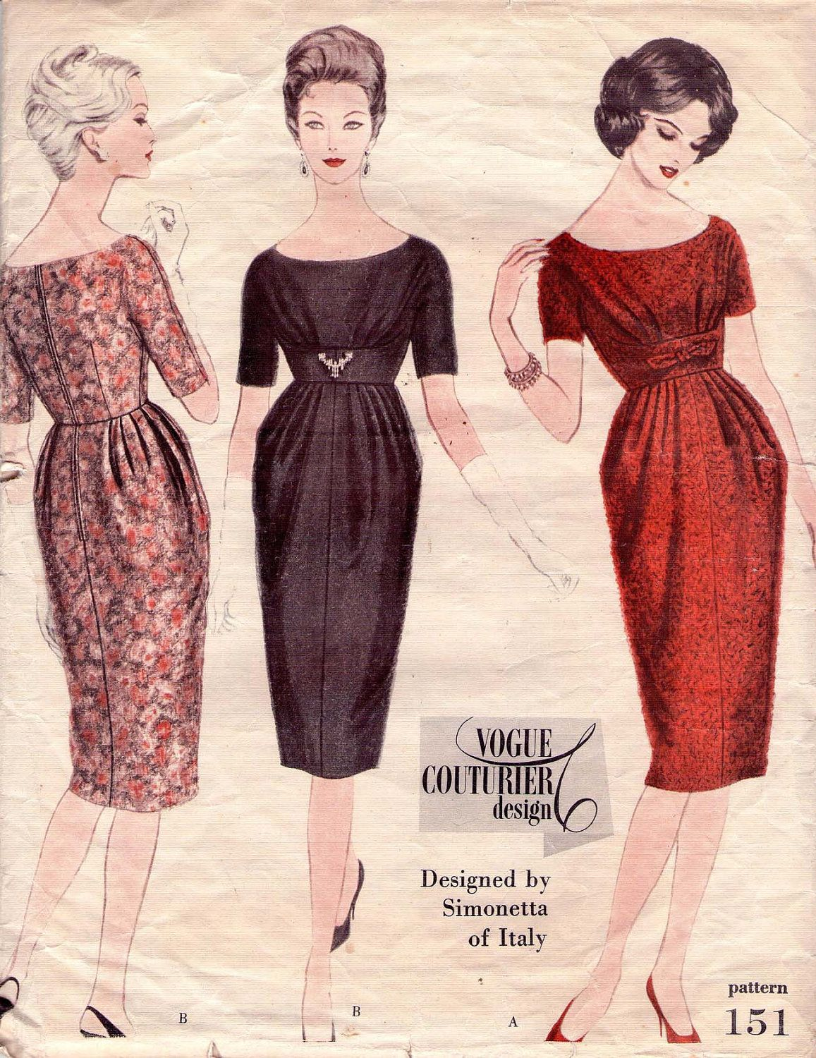 c1960s Vogue Couturier Design Pattern 151 -Simonetta of Italy -High ...