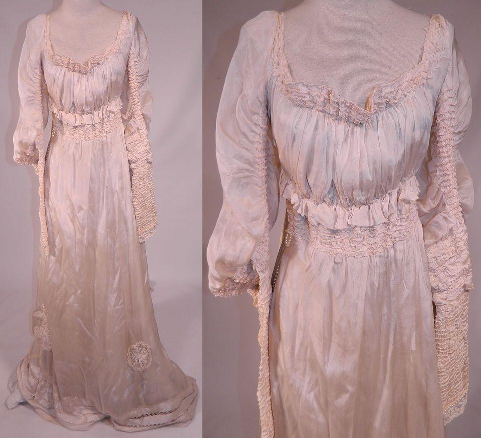 Edwardian cream silk ruched pearl bead lace trim wedding gown train