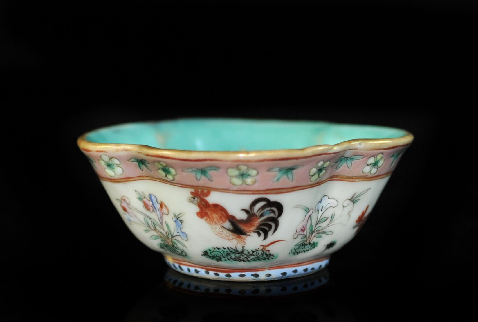 Chinese Old Porcelain Red Pastel Bowl Hand-painted Flowers w Qianlong Mark