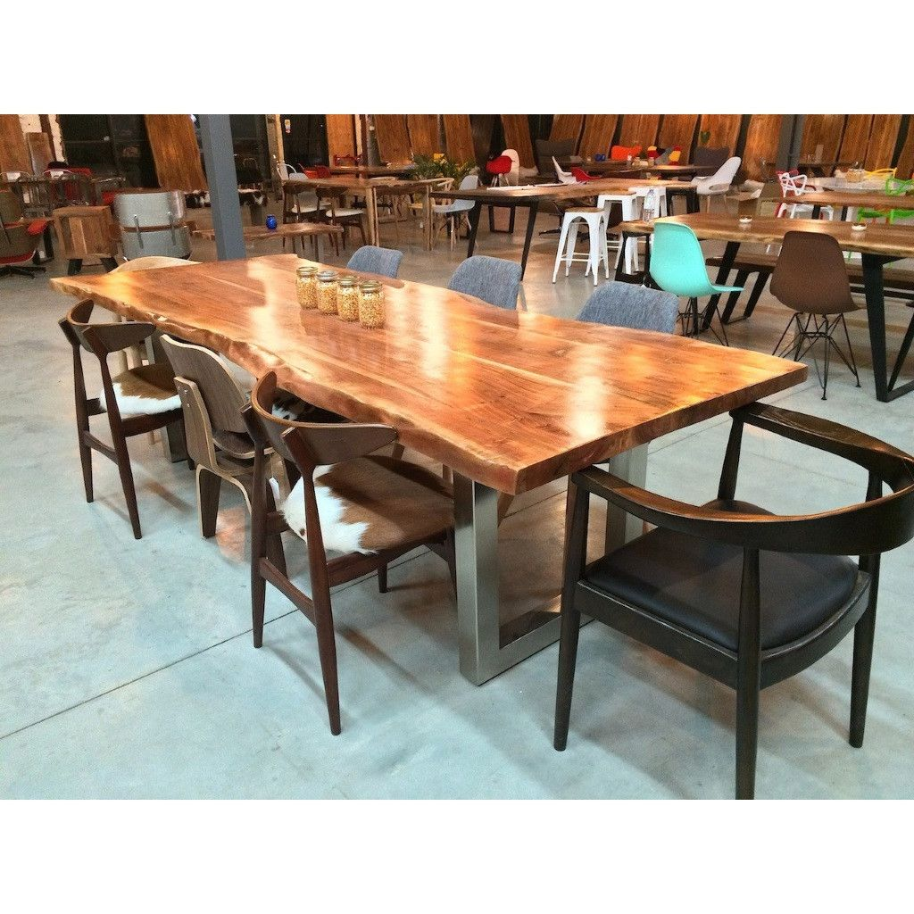 Acacia Natural Wood Live Edge Table Stainless Steel