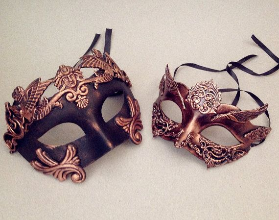 Metalic Couple Rose Gold masquerade mask pair by Crafty4Party