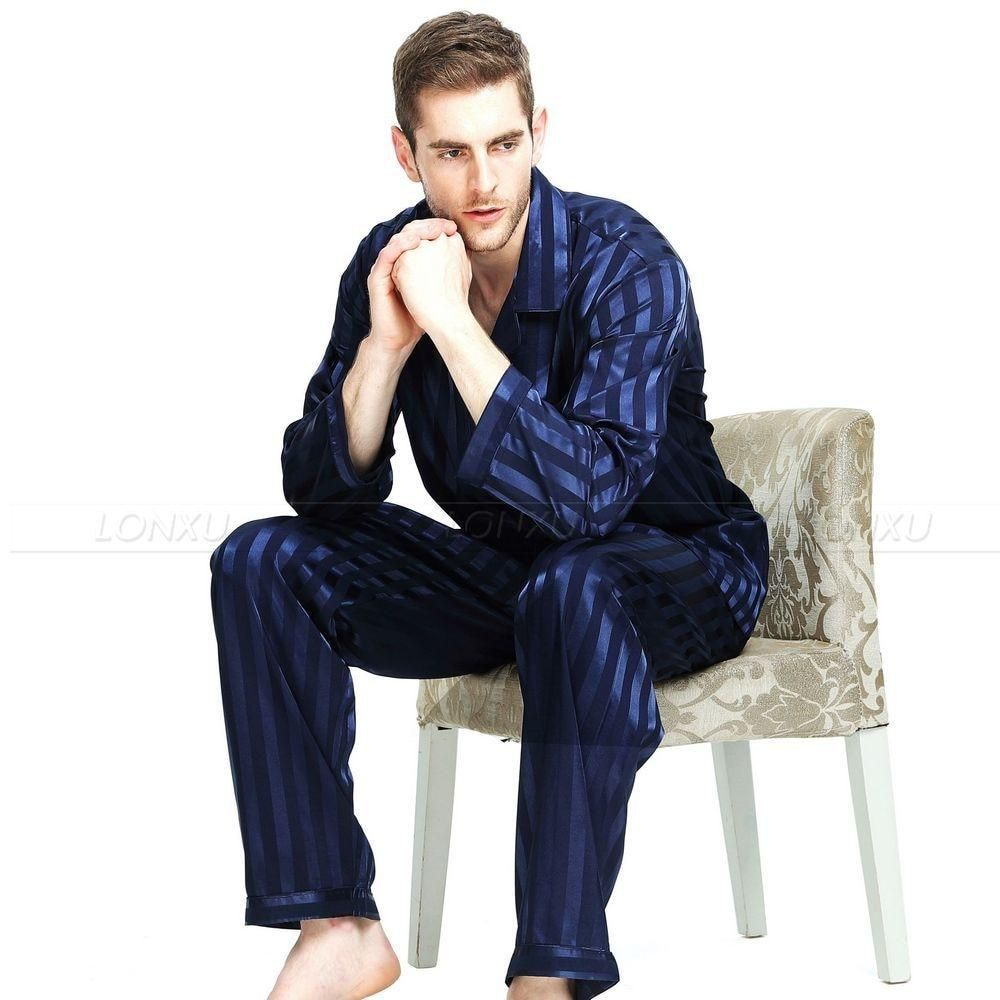 Mens Silk Satin Pajamas Set Pyjamas Set Sleepwear Set Loungewear S,M,L,XL,XXL,4XL