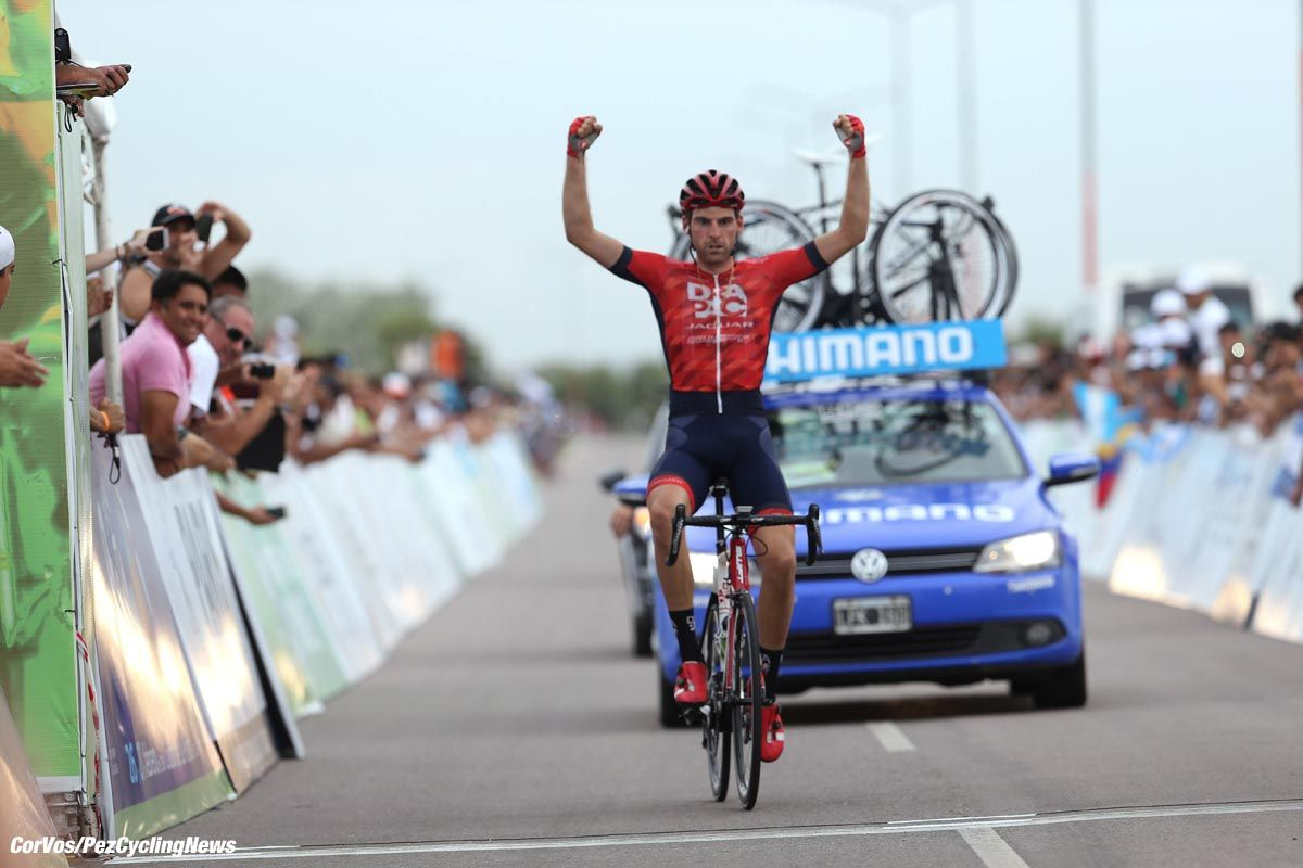 Peter Koning (Drapac) won stage 3 of the Tour de San Luis in a solo move 11 kilometers from the finish in La Punta. The Dutchman also now has the overall lead.