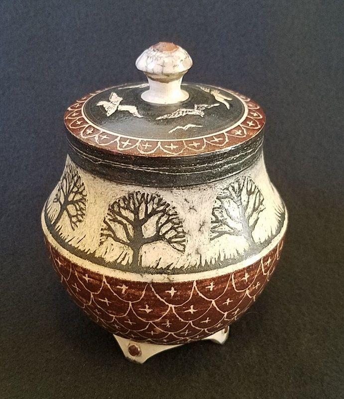 "45 Arbor Oak: ""Small Covered Jar W/ Trees"" By Kelly & Pamela Donaldson"