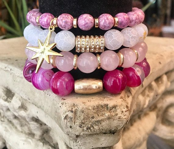 Pink agate, cracked white jasper stackable bracelet set with gold accents and starburst charm