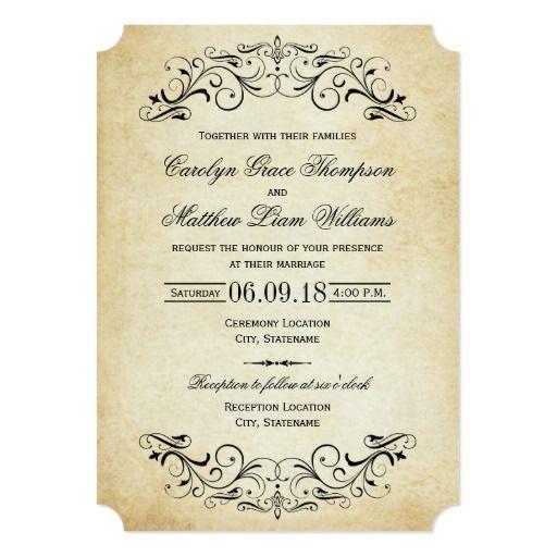 Vintage Black Flourish Wedding Invitation Zazzle Com Vintage Wedding Invitations Elegant Wedding Invitations Wedding Invitations