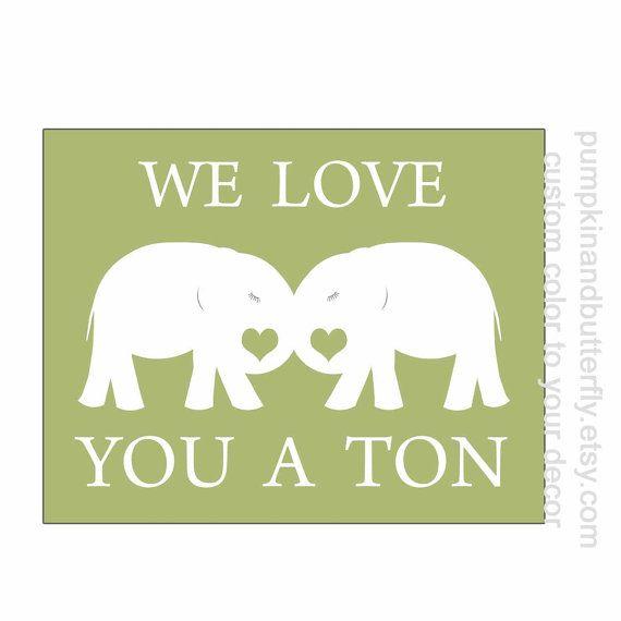 Elephant Nursery Print, Valentine Print, Nursery Decor, Wall Art ...