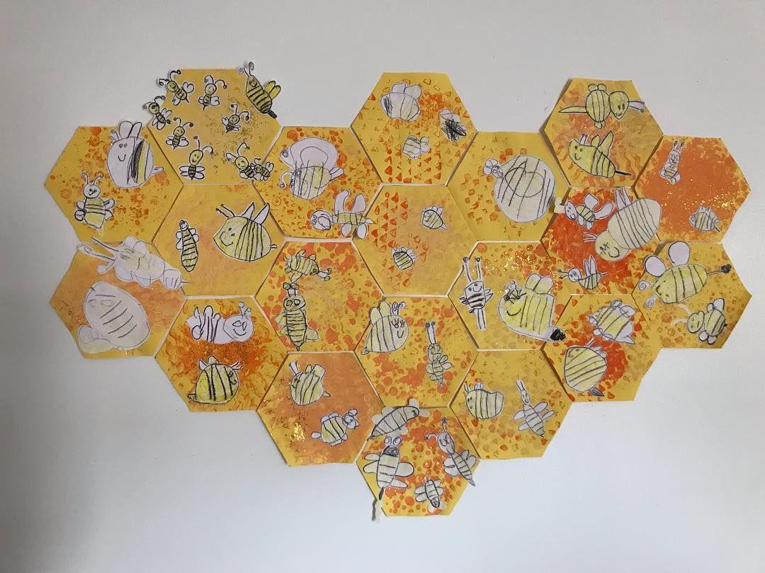 Miss De On Instagram Don T Worry Bee Happy Hexagon Beehive Honeycomb Bees Directed Drawing Bees Paint Stamping W Bee Happy Collaborative Art Bee [ 809 x 1080 Pixel ]
