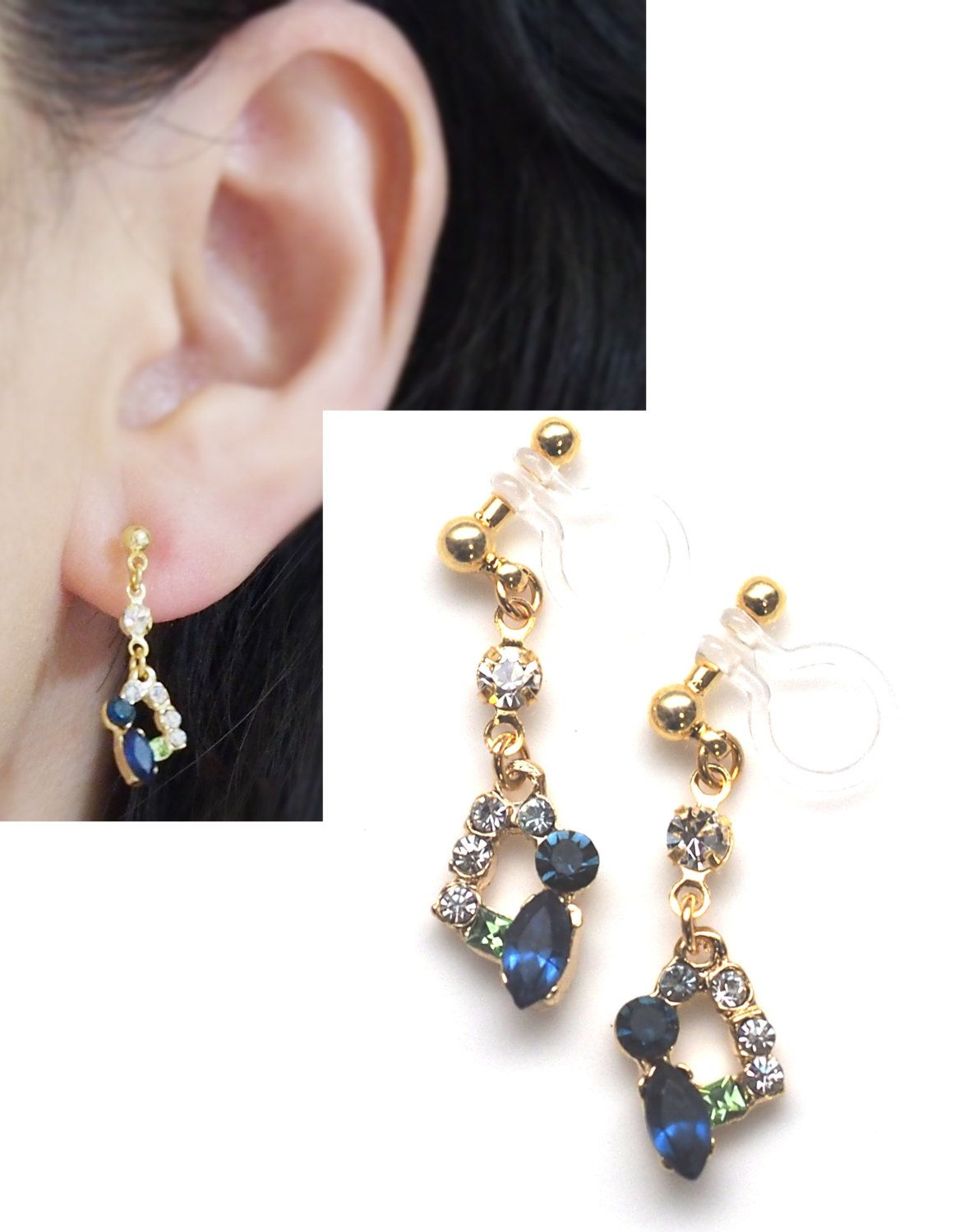 Dangle Navy Blue And Green Crystal Invisible Clip On Earrings Shire Rhinestone Ons