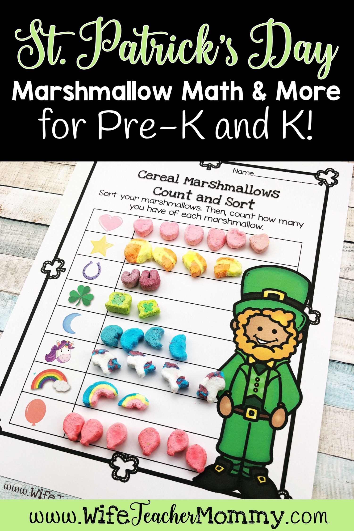 St Patrick S Day Cereal Marshmallow Math More For Pre K And Kindergarten Wife Teacher Mommy Lucky Charm Math Kindergarten Math Activities Kindergarten Activities [ 2249 x 1501 Pixel ]
