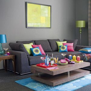 Superbe Light Gray Walls + Dark Gray Couch + Pops Of Color In Rug/pillows/etc
